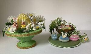 OOAK Vintage Easter Centerpieces w/ Plastic Figures, Flowers, & Beading