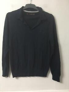 Ben Sherman Navy T-Shirt Size Large Mens Long Sleeve (G907)