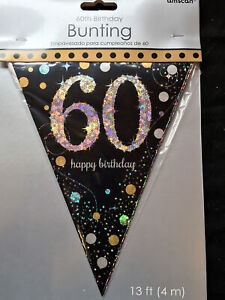 60th Birthday Pennant Flag Banner Black Silver Gold Party Decorations Age 60