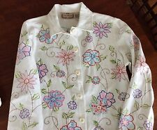 Life Style white denim jacket with colorful embroidered flowers & sequins, size