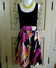 Womens Size 12 Dress Sleeveless Black & Colorful Brush Stroke Print Below Knee