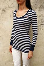 Hollister Women Long Sleeve Striped Casuals Top Stretch Blue Grey Auth M Medium