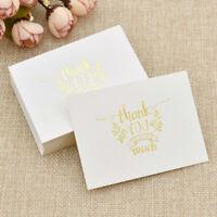 50pcs Bronzing Thank You Cards Message Card Handbook Wedding Brithday Party US