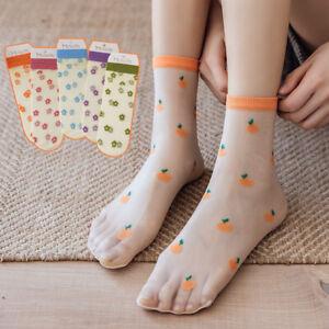 Women Fashion Transparent Socks Cute Floral Fruit Pattern Mesh Short Ankle Socks