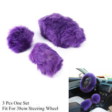 Auto Violet Long Plush Woolen Steering Wheel & Shifter Parking Brake Warm Cover