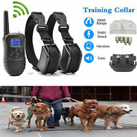 Rechargeable Waterproof Remote LCD Electric Shock Vibrate Dog Training Collar CY