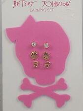 Betsey Johnson Goldtone Rhinestone Smiley Face Initial B Stud Earrings 3 Pc Set
