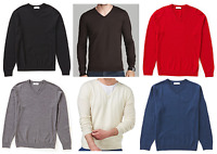 Turnbury Mens NWT 100% Fine Merino Wool V-Neck L/S Sweater Shirt, S, M, L, XL