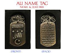"""""""Ali"""" para hombre nombre árabe Collar Tag-Cumpleaños Boda ayatul kursi Eid Regalos"""