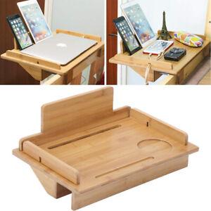 Bamboo Bed Bedside Shelf Clip-on Holder Tray Nightstand Storage Organizer Shelf