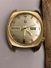 Vintage Bulova Accutron 218 Tuning Fork Watch Cushion Case Day Date 10K GF