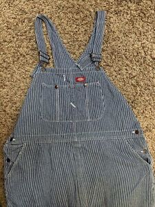 Men's Dickies Hickory Stripe Bib Overalls Jeans 46x32 Engineer Railroad