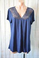 Jane Lamerton Top Size Large 14 Blue Navy Shorts Sleeve Lace Tee