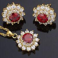 Xmas Garnet Red Ruby Flower Round Cut Necklace Pendant Earrings Jewellery Set