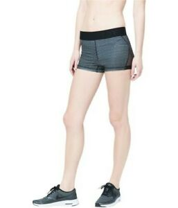 Aeropostale Womens Volleyball Stripe Athletic Compression Shorts, Black, Large