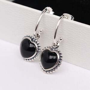 PANDORA Sterling Silver Heart Earring with Black Onyx