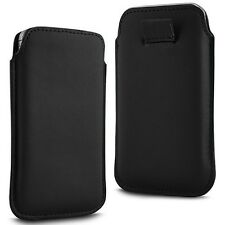 BLACK SOFT PREMIUM PU LEATHER PULL FLIP TAB CASE COVER POUCH FOR MOBILE PHONES