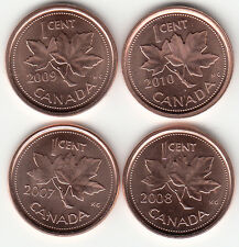 2007,2008,2009,2010 Canada 1 Cent UNC From Roll