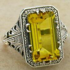 6 Ct Hydro Citrine Antique Deco Design .925 Sterling Silver Ring Size 10, #547