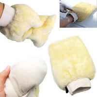 Microfibre Car Care Wash Glove Faux Wool Hand Wash Mitt Cleaner Soft Cream UK