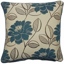 """TEAL CREAM CHENILLE FLORAL EMBROIDERED LEAVES 22"""" 55CM PIPED CUSHION COVER"""