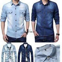 Superb Quality Mens Vintage Turn-down Collar Long Sleeve Denim Jean Shirt ILOE