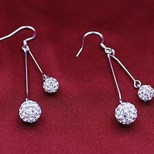Silver plat. ball earrings Orecchini placcati argento cristallo artificiale #OD4