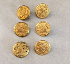 Lot 6 Vintage Waterbury US Army Military Officer Eagle Brass Shank Buttons 1.5cm
