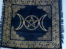 """Altar Cloth/Wiccan/Pagan/Wall Tapestry/Scarve Gold Triple Moon 18"""" x 18"""" SCV207"""