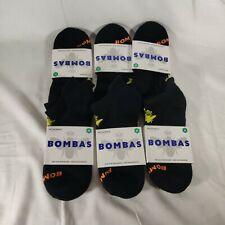 Bombas Black Ankle Socks w/Logos One Size 6 PACK NEW Size Medium