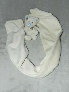 CHALKY BEAR LONG WHITE COMFORTER SOFT TOY BLANKIE TEDDY ME TO YOU BLUE NOSE