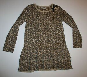 New NEXT UK Girls 4 5 Year Browns Leopard Animal Print Ruffle Hem Tunic Top