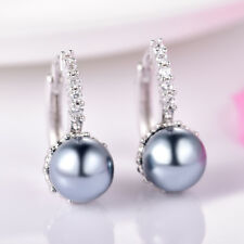 Elegant Women Grey Pearl White Swarovski Crystal Silver Tone Leverback Earrings