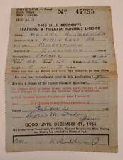 1955 NJ Resident's Trapping & Firearm Hunter's License (Maurice Rudderow JR)