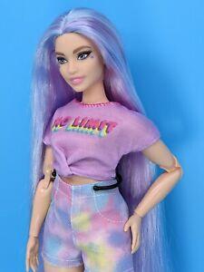 Custom Barbie Doll Star Fashionista Curvy Made to Move Purple Hair Reroot ooak