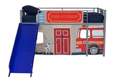 Kids Boys Twin Size Bunk Bed Slide Loft Child Bedroom w/ Fire Station Curtain