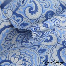 NWOT Made in Italy Silk Blend Delft Blue Brocade Cream Paisley Pocket Square NR