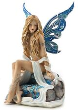 "7.5"" Jewelled Fairy Sapphire Fantasy Home Decor Statue Figurine Figure"