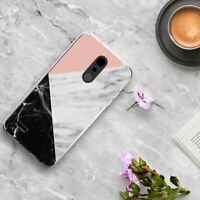 For LG K30/Premier Pro/Xpression Plus Marble Clear TPU Case+Black Tempered Glass