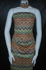 Modal 100% Knit Jersey Fabric Ecofriendly Chevron Zig Zag Print  6 oz Rust/Green