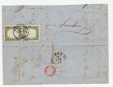 FRANCOBOLLI 1862 SARDEGNA 5 C. VERDE OLIVASTRO FIRENZE 14/7 A/11703