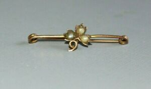 VINTAGE / ANTIQUE 9CT GOLD SEED PEARLS BROOCH / PIN.