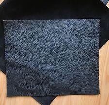 15x15cm Black Leather Remnants off Cut Pebble Grain Soft Cowhide 2.5mm Thick