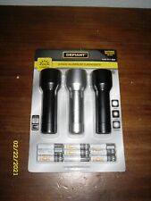 Defiant 3 pack Aluminum flashlights // Batteries Included // 250 Lumens // New