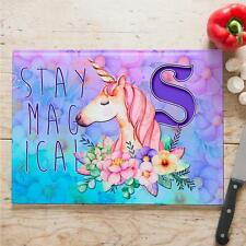 Personalised Stay Magical Unicorn Initial Cooking Glass Chopping Board Home Gift