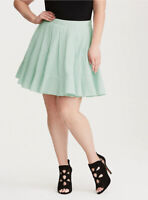 TORRID Green Teal Flared Eyelet Cotton Pleated Circle Mini Skirt Sz 14 New NWOT