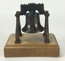 Vintage Liberty Bell Wood and Faux Bronzed Metal Figurine