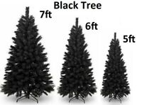 5/6/7ft Artificial Black Christmas Tree Metal Stand Bushy Traditional Decoration