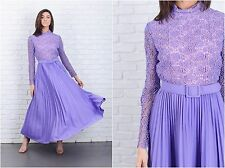 Vintage 70s Purple Crochet Lace Cutout Dress Floral Pleated Maxi Cocktail Small