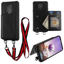 For LG Stylo 5 Leather Wallet Card ID Holder Case Lanyard Neck Strap Pouch Cover